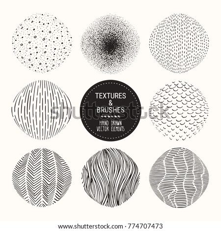 Hand drawn textures and brushes. Artistic collection of vector design elements: tiles, dots, bubbles, brush strokes, paint dabs, wavy lines, abstract backgrounds, stippling patterns made with ink.