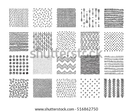 Hand drawn textures and brushes. Big artistic collection of design elements: graphic patterns, geometric ornaments, abstract lines, tribal symbols made with ink. Isolated vector set.