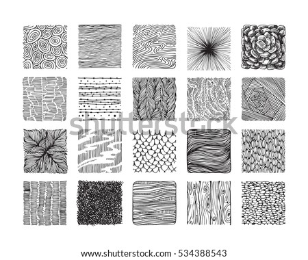 Hand drawn textures and brushes. Big artistic collection of design elements: graphic patterns, natural ornaments, wavy lines, geometric symbols made with ink. Isolated vector set.