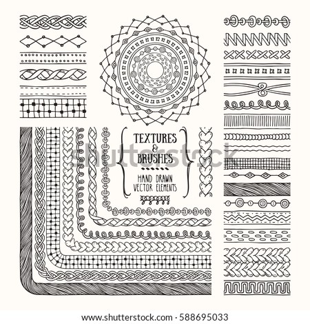 Hand drawn textures and brushes. Creative collection of design elements: needlework, knitted fabric, rough cloth, textile, handicraft patterns, geometric textures. Pattern brushes are included in EPS.