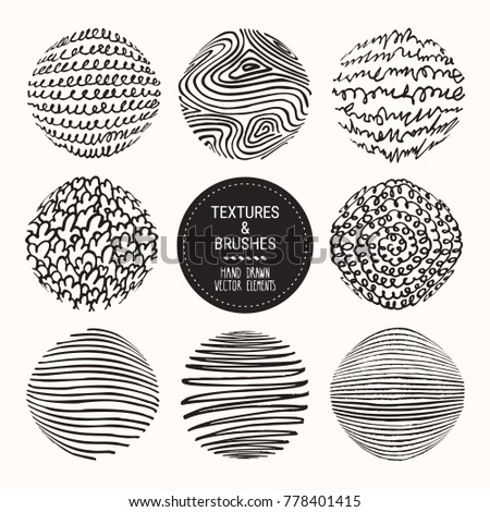 Hand drawn textures & brush strokes. Artistic collection of handcrafted design elements: natural graphic patterns, wavy line textures, paint dabs, abstract backgrounds for flyer & poster templates.