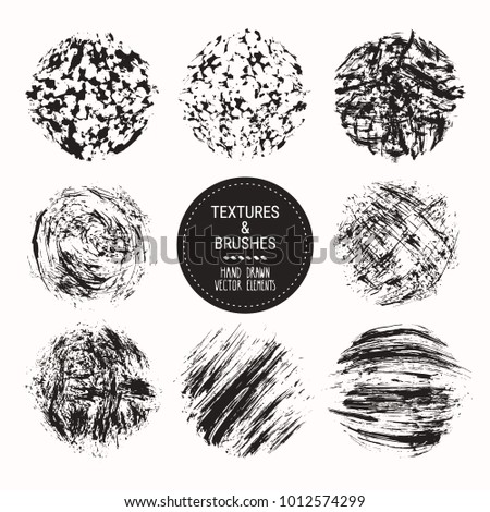 Hand drawn textures & brush strokes. Artistic collection of handcrafted design elements: scribble textures, hatches, ink smears, paint dabs, grunge backgrounds, abstract patterns. Isolated vector set.