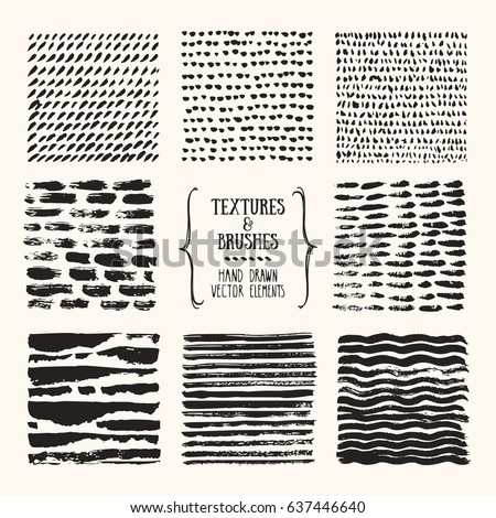 Hand drawn textures & brush strokes. Artistic collection of handcrafted elements: scribble lines, paint dabs, ink splashes, abstract pattern, grunge background for flyer, invitation, poster templates.