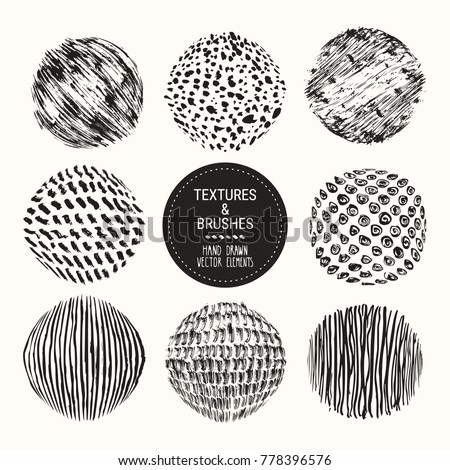 Hand drawn textures & brushes. Artistic collection of round design elements: paint dabs, brush strokes, ink splashes, grunge backgrounds, abstract stains patterns, ink smears. Isolated vector set.