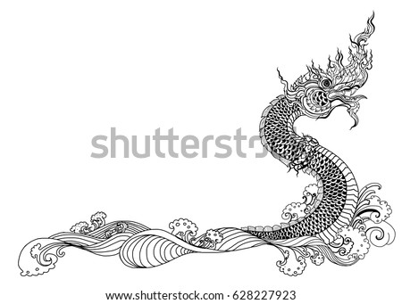 Buddhist symbols hand download free vector art stock graphics hand drawn thai dragon on water line thai is thailand style and tattoo design ccuart Images