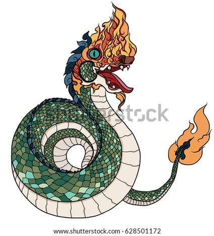 hand drawn thai dragon or the