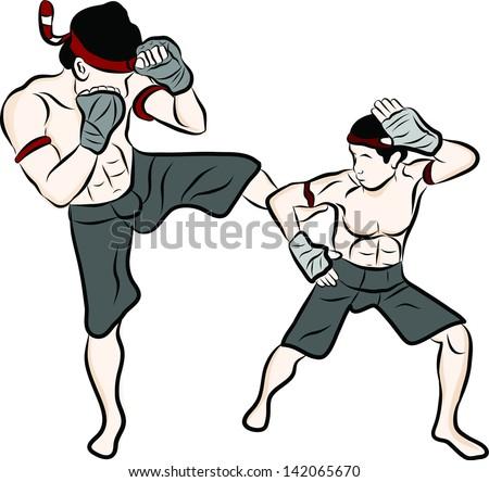 Thai Martial Artist Hand Drawn Thai Martial Arts