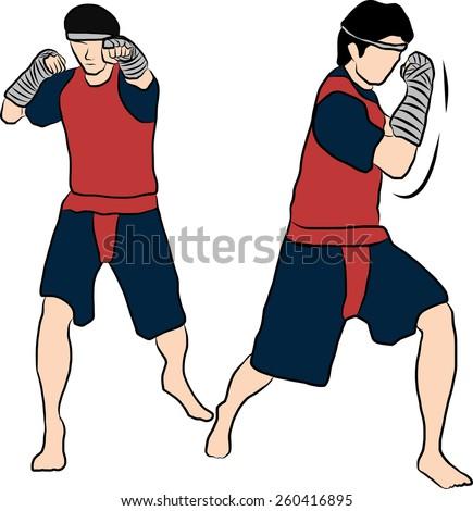 hand drawn Thai martial arts muay thai  body weapon