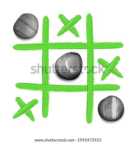 Hand drawn tic tac toe game with stones and oil paint strokes t shirt print Foto stock ©