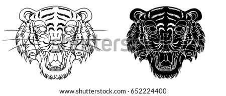 hand drawn tiger head