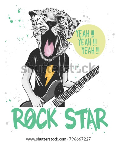 Shutterstock Hand drawn tiger playing guitar with typography vector for t shirt printing and embroidery, Graphic tee and printed tee