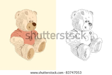 Hand drawn toy - teddy - coloring book