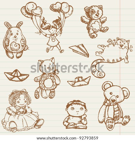 Hand drawn toys collection in vector - stock vector