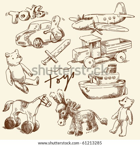 hand drawn toys for boys - stock vector