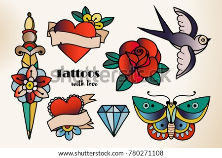 Hand drawn traditional tattoos. Colored graphic vector set. All elements are isolated