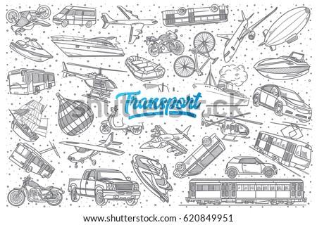 hand drawn transport doodle set