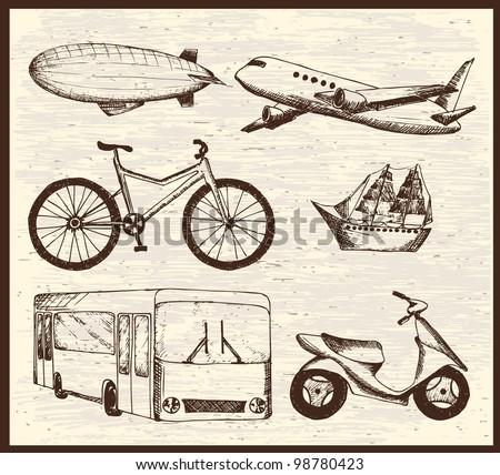 Hand-drawn transport set