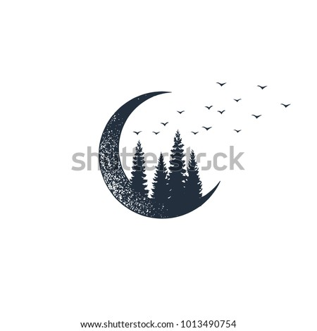 Hand drawn travel badge with crescent and fir trees textured vector illustrations.