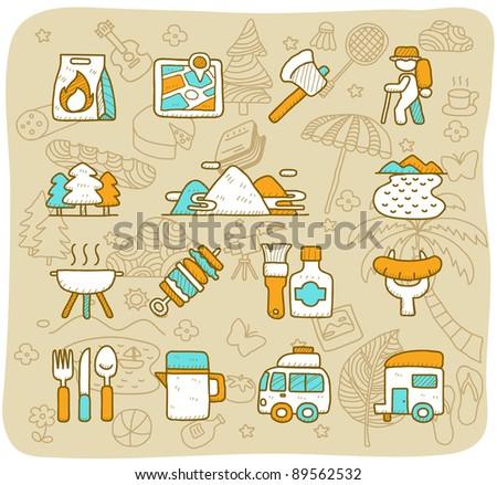 Hand drawn travel,picnic ,camping icon set