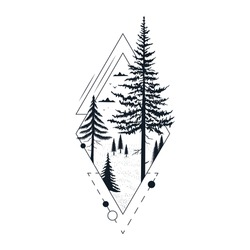 Hand drawn tree badge with fir and pine.. Geometric wanderlust frame for label or tattoo. Vector isolated evegreen forest print.