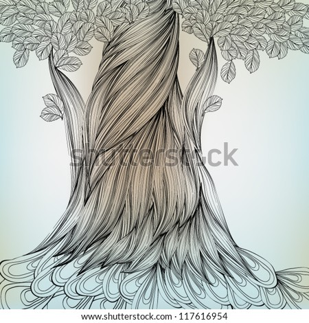Hand Drawn Tree, EPS10 Vector background