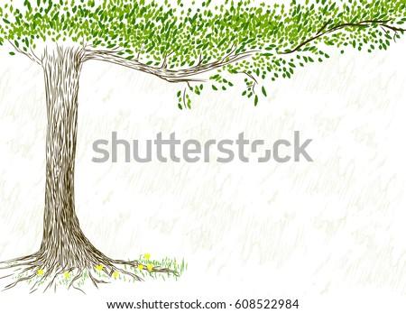 hand drawn tree on white