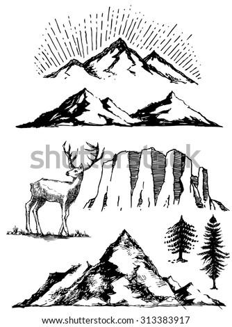 hand drawn trees mountains