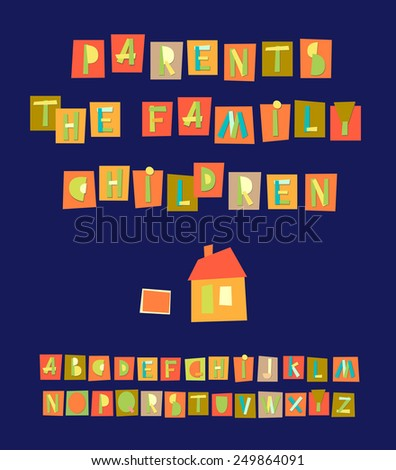 Hand Drawn Trendy Alphabet on blue background Vector illustration Vector illustration of geometric alphabet