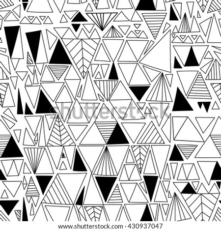 Hand drawn triangles seamless pattern. Black and white geometric doodle abstract   background.