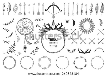Hand drawn tribal collection with bow arrows feathers dreamcatcher horns frame and border floral elements for design logo invitation and more Vector tribal ethnic aztec hipster elements