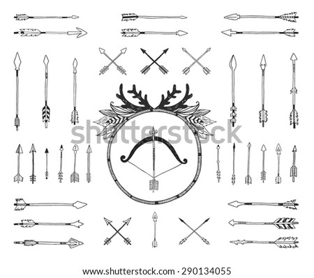 Hand drawn tribal collection with indian arrows bow and feathers Vector tribal ethnic aztec elements isolated on white background