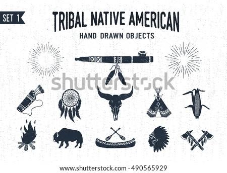 hand drawn tribal icons set...