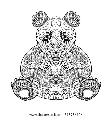 hand drawn tribal panda  animal