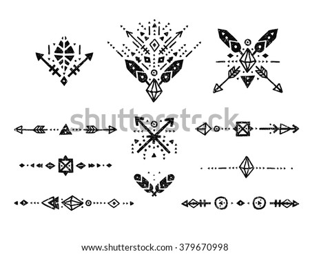 Hand drawn tribal patterns with stroke, line, arrow, decorative elements, feathers, geometric symbols Aztec style. Flash Tattoo, logo, boho shapes