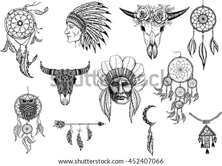45eb17311 Hand drawn tribal set with arrows feathers dreamcatchers bull skulls war  headdress elements. Vector ethnic