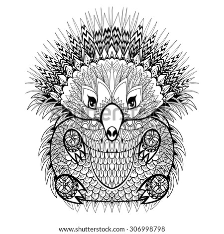 Hand drawn Tribal Totem Echidna, Australian animal illustration for anti stress adult Coloring Page with high details isolated on white background, in zentangle style. Vector monochrome sketch.
