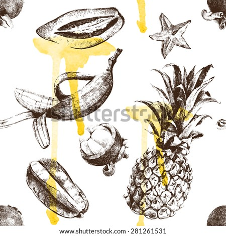 hand drawn tropical fruits