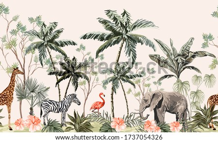 Hand drawn tropical vintage botanical landscape border with palm trees, banana trees, palm leaves, hibiscus flowers, giraffe, zebra, elephant.Jungle animal wallpaper