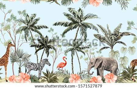 Hand drawn tropical vintage botanical landscape, illustration with palms, banana trees, palm leaves, hibiscus, giraffe, zebra, elephant. Floral seamless border blue background. Jungle animal wallpaper
