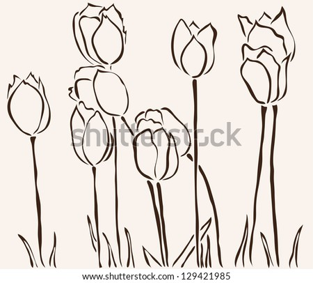 hand drawn tulip flowers for your design - stock vector