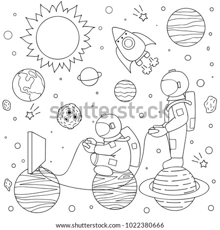 hand drawn two funny astronauts