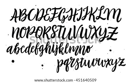 Hand drawn typeface set. Brush painted characters: lowercase and uppercase.