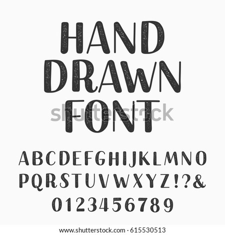Hand drawn typeset. Alphabet vector font. Type letters and numbers on a dark background. Vector typeface for your design.