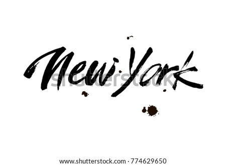 Hand drawn typography lettering phrase New York isolated on the white background. Modern brush calligraphy for typography poster