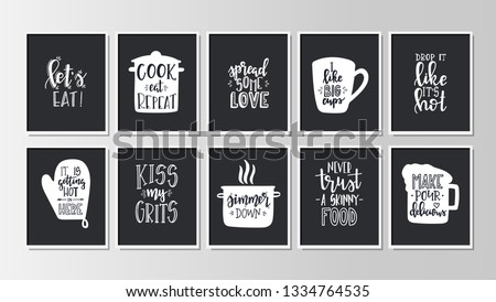 Hand drawn typography poster. Conceptual handwritten phrase kitchen T shirt hand lettered calligraphic design. Inspirational vector #1334764535