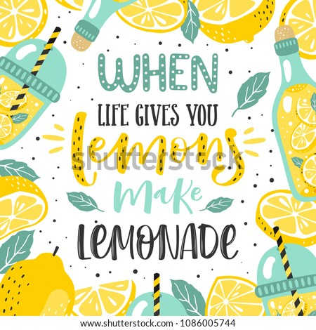 Hand drawn typography poster. Lemons with inscription