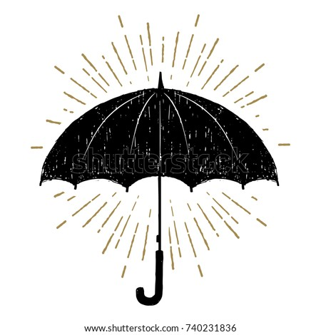 Hand drawn umbrella textured vector illustration.