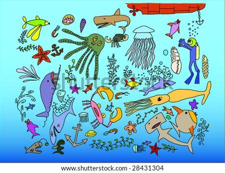 hand drawn underwater animals