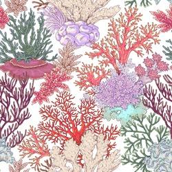 Hand drawn underwater natural elements. Coral reef seamless pattern. Vivid corals on white background. Undersea bottom texture.