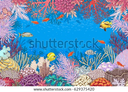 Hand drawn underwater natural elements. Sketch of reef corals  and  vivid swimming fishes. Undersea world theme background. Colored horizontal rectangle frame with space for text.